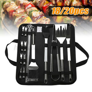 18/20 pcs Stainless Steel BBQ Tools Set Kit Grill Cookware Utensils With Bag
