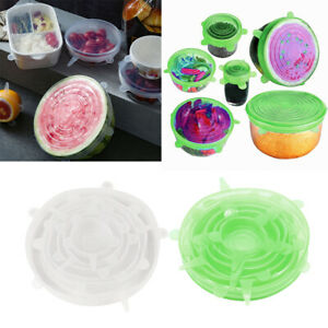 Clear & Green Silicone Stretchable Round Seal Lids Bowl Covers Non-toxic