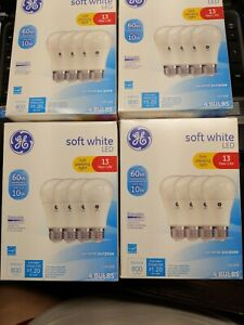 16 BULBS BRAND NEW  GE LED 60W~10W SOFT WHITE DIMMABLE  LIGHT BULBS 4/4 Packs