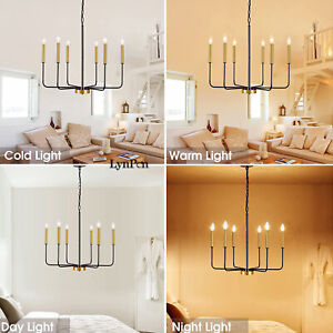 Candle Style Pendant Light Wood French Country Rust Chandelier Lamp Fixture US