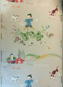 1950's Vintage Wallpaper Scarecrow on the Farm One Partial Roll