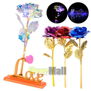 Luxury Gold Plated Rose Flower Dipped In 24K For Valentine#x27;s Day LOVE Mom Gifts