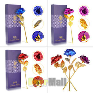 24k Gold Plated Foil Rose Flower Long Stem Dipped Valentines Day Gift For Her $8.87
