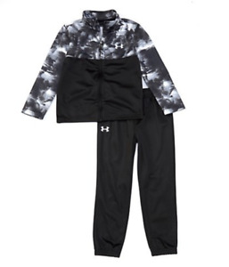 Boys Under Armour Joggers Track Pants Set Full Zip Jacket Black Grey 4 5 6 7 $31.83