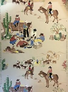 1940's Vintage Wallpaper Cowboy Cattle Drive Pattern partial Roll On The Range