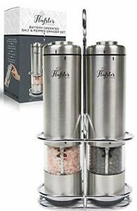 Battery Operated Salt and Pepper Grinder Set - Electric Stainless Steel