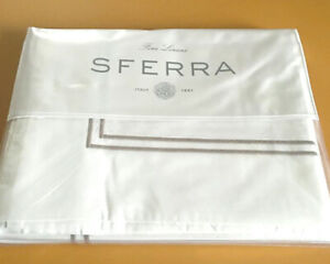 Sferra GRANDE HOTEL Queen Flat Sheet White/Grey Double Stripe Cotton Per
