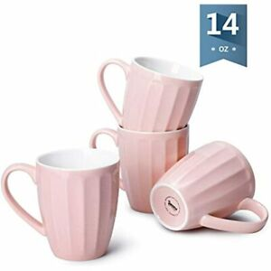 602.108 Porcelain Fluted Mugs - 14 Ounce Coffee Cup Set For Coffee, Tea, Cocoa,