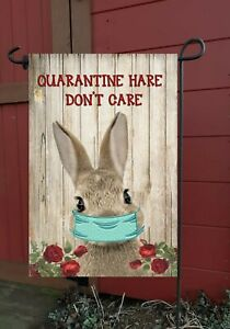 Quarantine Hare  Garden Flag * Top quality *Double Sided * By Flags Galore
