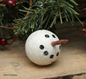 12 Glittered Snowman Head Ornaments Great for Feather Tree