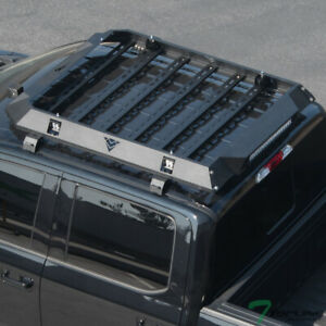 Topline For 2014-2020 Tundra Crew Max Modular Steel Roof Basket+LED Bars - Black