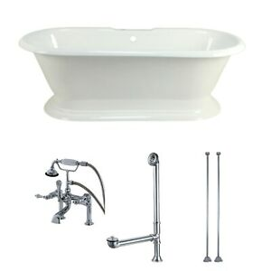Double-ended Cast Iron 72-inch Pedestal Bathtub with Faucet WhiteBrushed Nickel