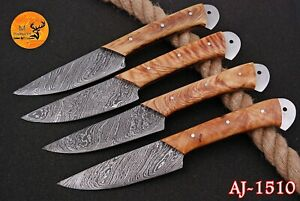 FOUR DAMASCUS STEEL STEAK CHEF KNIVES SET WITH WOOD HANDLE - AJ 1510