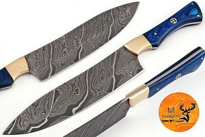 HAND FORGED DAMASCUS STEEL CHEF KNIFE WITH WOOD BRASS BOLSTER HANDLE AJ 1349