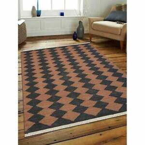 Hand Woven Flat Weave Kilim Wool Area Rug Contemporary Brown