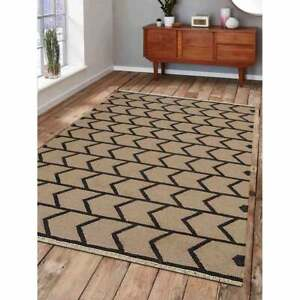 Hand Woven Flat Weave Kilim Wool Area Rug Contemporary Cream