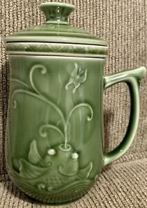 Ceramic Tea Cup Mug with Infuser Strainer and Lid Green Embossed With Koi Fish