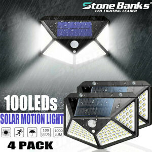 1 2 4PACK 100 LED Solar PIR Motion Sensor Wall Light Outdoor Garden Guide Lamp