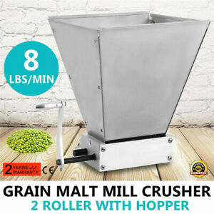 Manual Grain Malt Mill Barley Grinder Crusher for Homebrewing Beer Mill 2 Roller