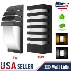 15W Modern LED Wall Light Sconce Porch Lamp Indoor Outdoor Waterproof Fixture US