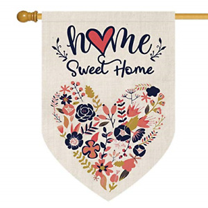 Home Sweet Home House Flag Vertical Double Sided Love Heart Navy Blue Flower