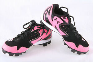 Girls Under Armour Leadoff Low Softball Cleats Cleaned Pink Blk Wht Sz 2 $12.99
