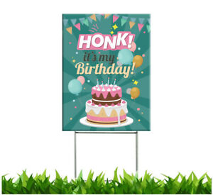 Happy Birthday Yard Sign with Stakes | Honk Its My Birthday |Double sided|18x24
