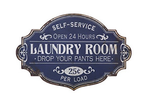 Creative Co op Vintage Metal Laundry Room Wall Sign Distressed Blue