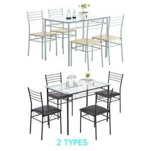 5 Piece Glass Dining Table Set 4 Chairs Kitchen Room Breakfast Black Silver NEW