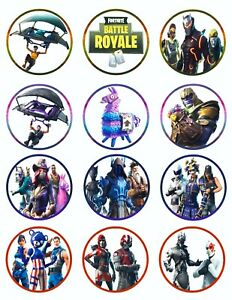 FORTNITE Birthday Cupcake Toppers Icing Sugar Paper (12 Rounds) (Best Quality)
