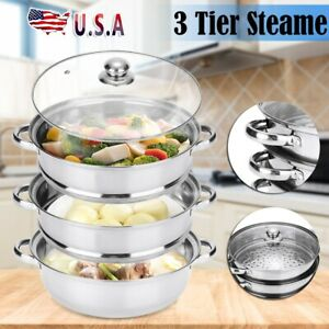 Stainless Steel 3 Tier Food Steamer Meat Vegetable Cooking Steam Hot Pot Kitchen
