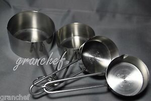 Measuring Cup Set 4 Piece Heavy Stainless Steel New Commercial Grade $6.95