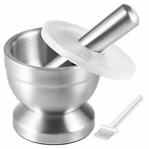 Stainless Steel Mortar And Pestle With Brush Pill Crusher Spice Grinder Durable