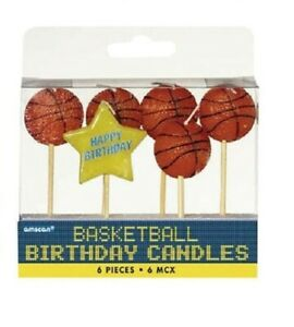 Basketball Birthday Toothpick Candle Set (6 Pack)
