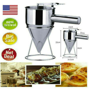 Stainless Steel Batter Dispenser Cream Funnel Cupcake Pancake Waffle Pastry Tool