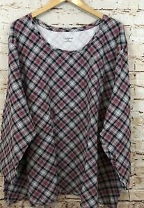 Catherines womens 5X shirt top plaid long sleeve new gray red scoop neck BX3 B7 $28.97