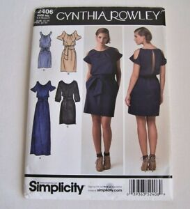 Simplicity 2406 Uncut Pattern Cynthia Rowley Misses Dresses Sewing Sizes 6 14 H5 $4.20