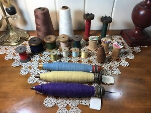 Assorted Lot Of 20 Wood Antique Spools Industrial Textile Cone Corticelli $75.00