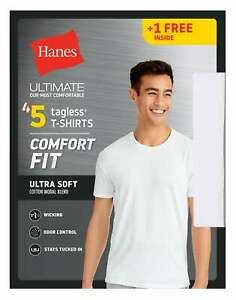 Hanes Ultimate Mens White T Shirt 5 Pack Comfort Fit Crewneck Undershirt Short $22.56