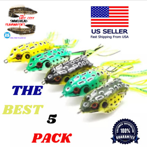 5 PACK Frog Topwater Soft Fishing Lure 2.5in 1 4 oz Bass Fishing Bait NEW USA