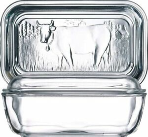 Glass Cow Butter Dish Large Hold Lid Stick Serving Kitchen Food Vintage Look