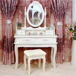 White Vanity Makeup Dressing Table Set w Stool 4 Draweramp;Mirror Jewelry Wood Desk