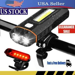 USB-Rechargeable LED Bicycle Bike Front Light Headlight & Tail Light Emergency
