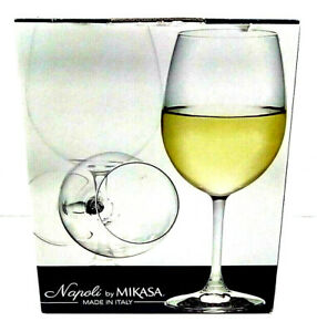 Napoli by Mikasa Made in Italy Set of 4 Wine Laser Cut Elegant Glasses 16.6oz