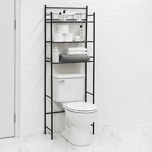 Mainstays 3-Shelf Bathroom over the Toilet Space Saver with Liner, Matte Black