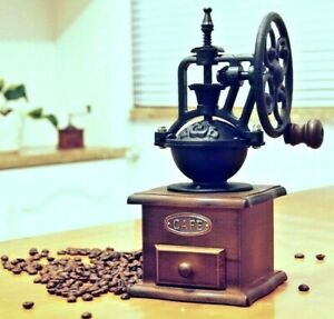 Antique Cast Iron Hand Crank Coffee Mill with Wood Drawer Manual Coffee Grinder