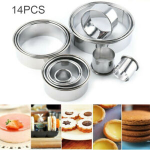 14Pcs for Metal Round Baking Cutter Mould Set Cookie Biscuit Mousse Pastry US