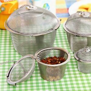 Stainless Steel Mesh Tea Filter Infuser Strainer Spoon Locking Spice Ball Sliver
