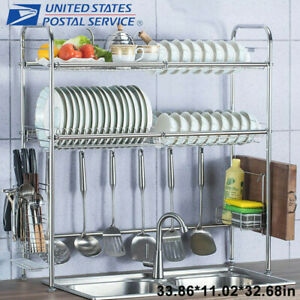 3 Tier Over The Sink Dish Drying Rack Shelf Stainless Kitchen Cutlery Holder US