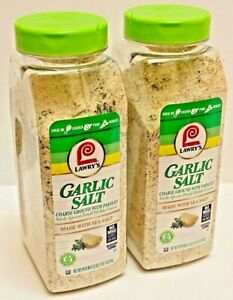 2 Lawry' Garlic Salt Coarse Ground With Parsley Made With Sea Salt No MSG 33 oz